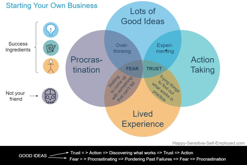 venn diagram on the role of good ideas, procrastination, taking action and lived experience in starting a business